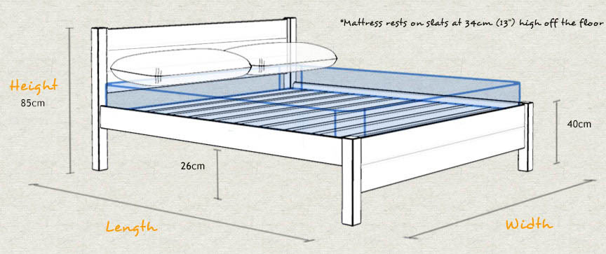 London Wooden Platform Bed Frame Sizes and Dimensions Schematic